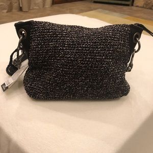 NWT The Sak Hand Crocheted purse black/gray/white